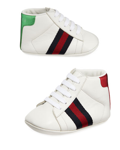 New Ace Web-Trim Leather Sneakers, Baby