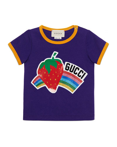 Glitter Rainbow & Strawberry Short-Sleeve Shirt, Size 12-36 Months
