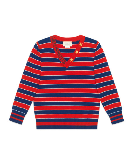 55ef4ee5335 Gucci Striped V-Neck Gucci Monsters   Stars Wool Sweater