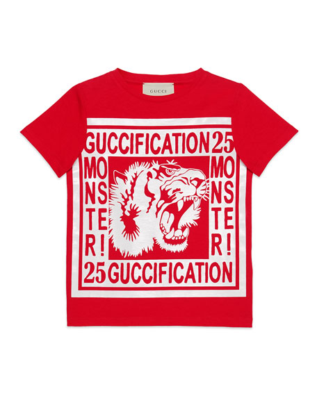Guccification Monster & Tiger Print T-Shirt, Size 4-12