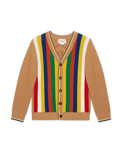 Stripe-Front Knit Cardigan w/ Logo Back, Size 4-12