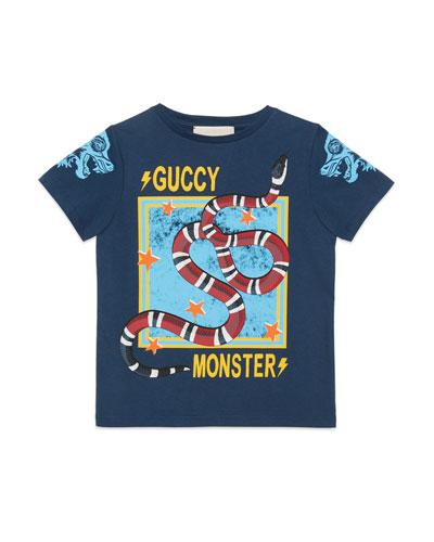 Guccy Monster & Kingsnake T-Shirt, Size 4-12