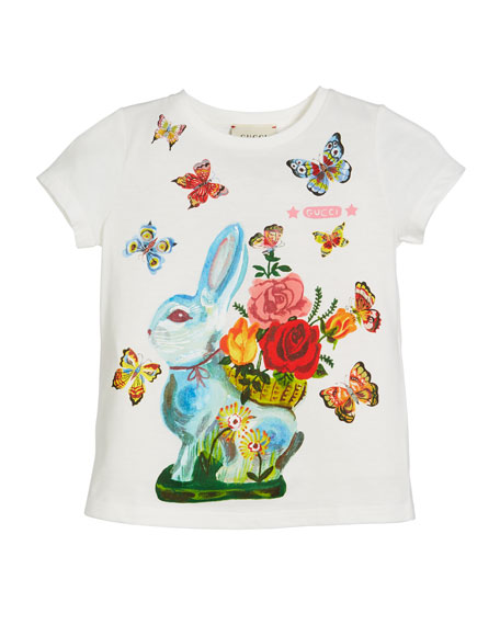 Gucci Bunny & Butterflies-Print Jersey Top, Size 4-12