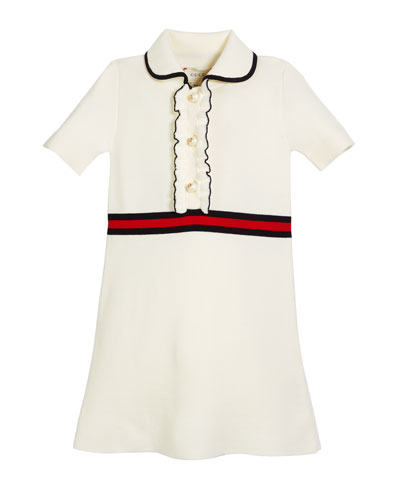 Web-Trim Short-Sleeve Dress w/ GG Glass Pearls, Size 4-12