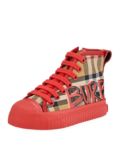 Kingly Graffiti-Logo Check High-Top Sneaker, Toddler