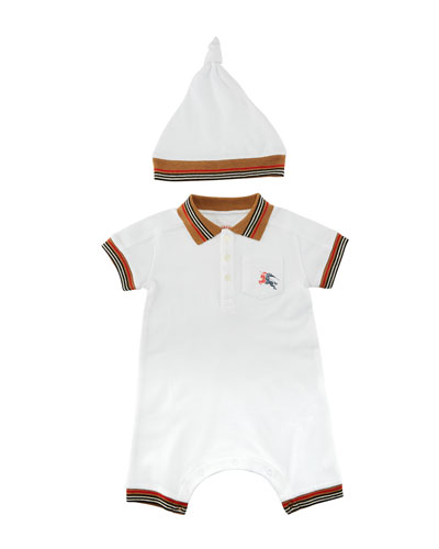 Kai Striped-Trim Polo Shortall w/ Hat, Size 1-18 Months