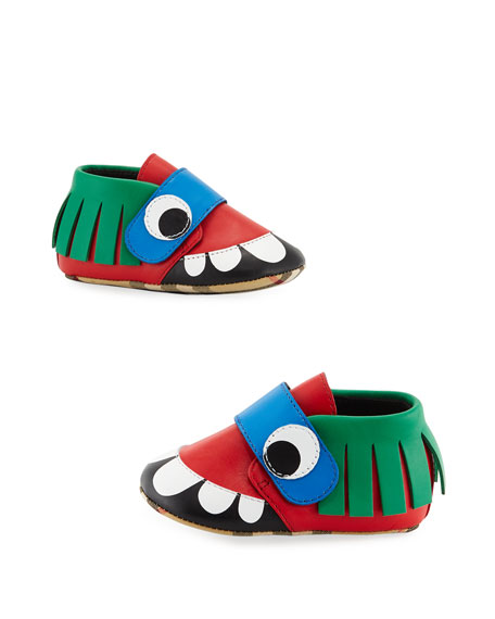 LEATHER MONSTER CRIB SHOES, NEWBORN-12M