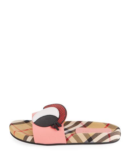 10cbedd393bf47 Burberry Coslin Googly Eye Check   Leather Slide Sandal