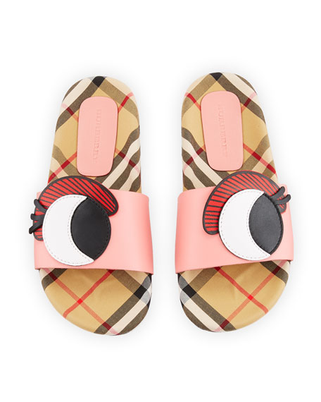 Coslin Googly Eye Check & Leather Slide Sandal, Toddler/Kids