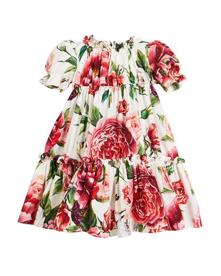 Dolce & Gabbana Peonies-Print Tiered Puffy-Sleeve Dress w/