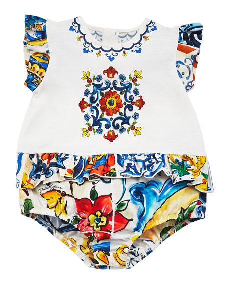 Flutter-Sleeve Maiolica Tile-Trim Bodysuit, Size 3-12 Months