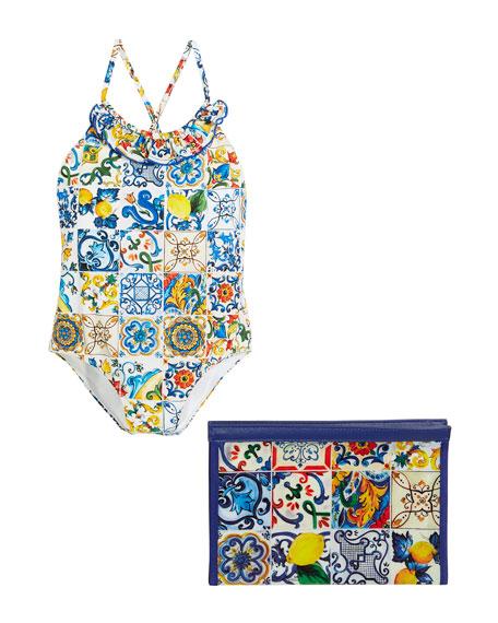 Maiolica-Print Cross-Back One-Piece Swimsuit, Size 4-6