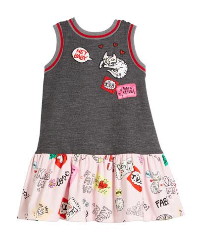 Combo Patches-Print Sleeveless Dress, Size 8-12