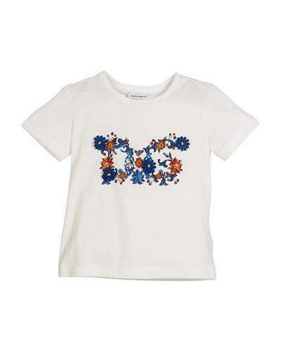 Maiolica Floral Cotton Logo Tee, Size 8-12