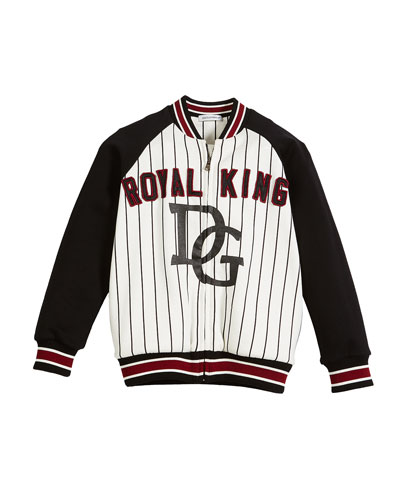 DG Royal King Striped Baseball Jacket, Size 8-12