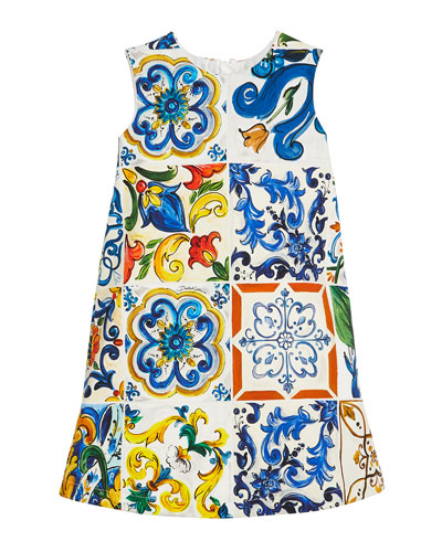 Maiolica-Print Sleeveless A-Line Dress, Size 8-12