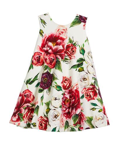 Peony-Print Jersey Swing Dress, Size 4-6