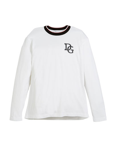 Long-Sleeve Striped-Collar King T-Shirt, Size 8-12