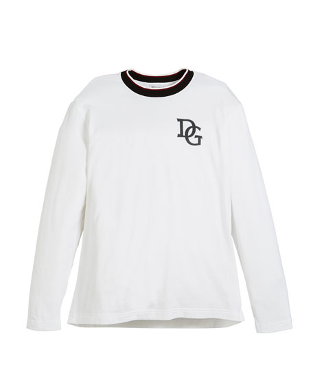 Image 1 of 1: Long-Sleeve Striped-Collar King T-Shirt, Size 8-12