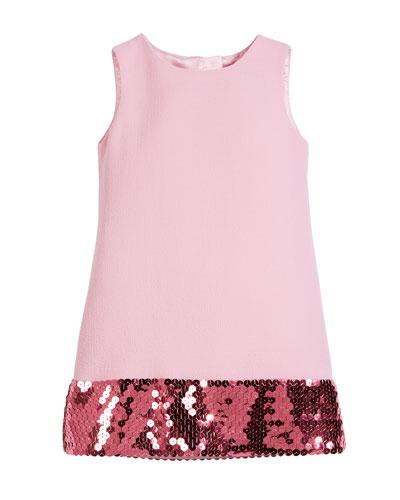 Sleeveless Crepe Dress w/ Sequin Hem, Size 4-6