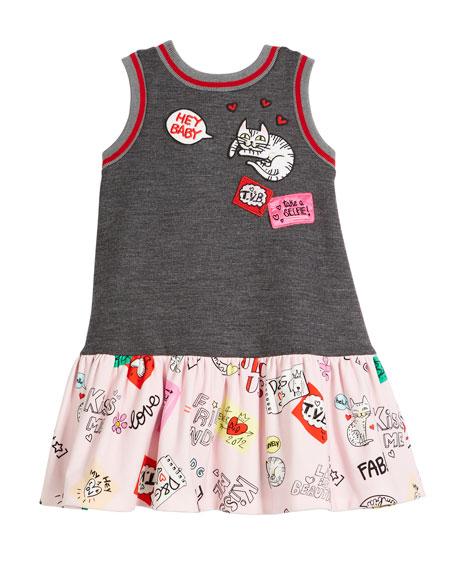 Dolce & Gabbana Combo Patches-Print Sleeveless Dress, Size