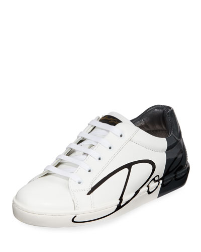 Two-Tone Leather Logo Sneakers, Kids 2