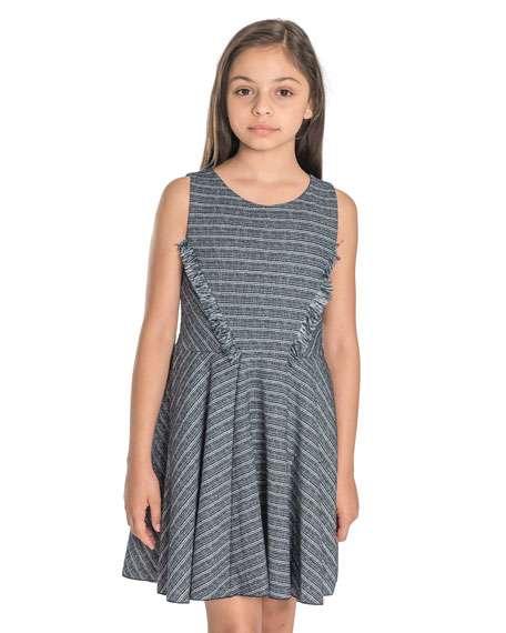Mara Metallic Striped Fringe-Trim Swing Dress, Size 4-6X