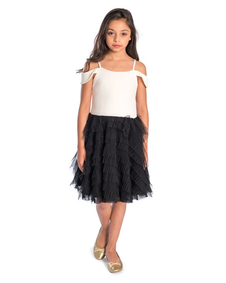 Nikki Draped-Shoulder Dress w/ Ruffle Tulle Skirt, Size 7-16
