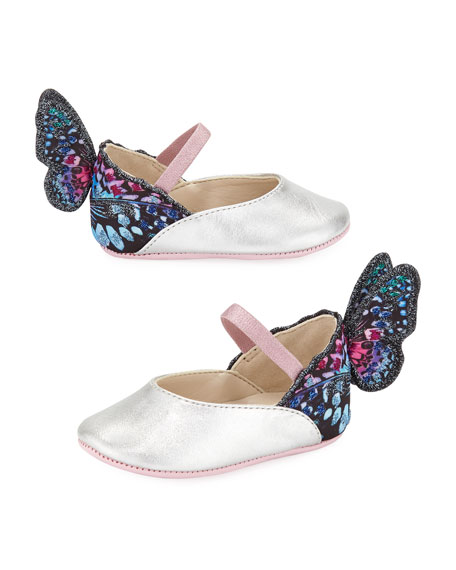 Sophia Webster Chiara Leather-Trim Butterfly Mary Jane Flats,