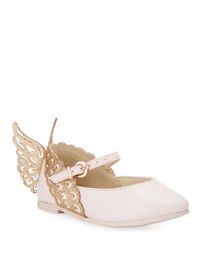 Evangeline Leather Butterfly-Wing Flats, Toddler/Kid