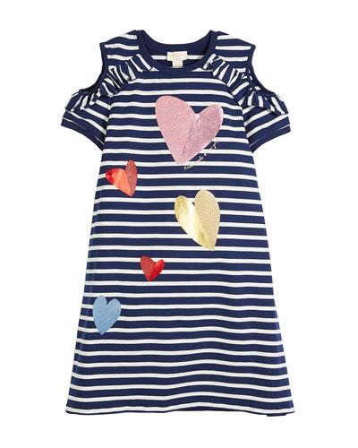 tossed hearts striped cold-shoulder dress, size 7-14
