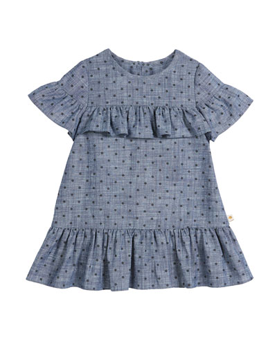 chambray polka-dot ruffle-trim dress, size 2-6x