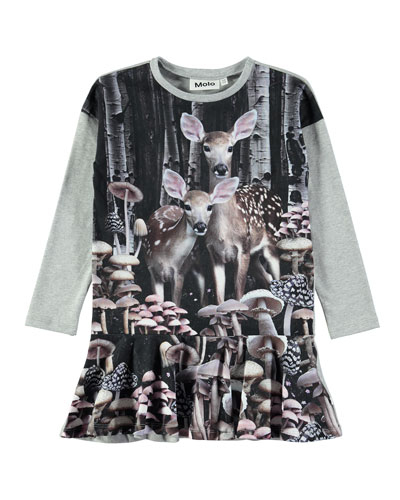 Claire Long-Sleeve Deer-Print Dress, Size 2T-12