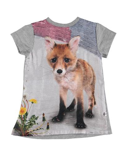 Corina Short-Sleeve Fox-Print Dress, Size 6-24 Months