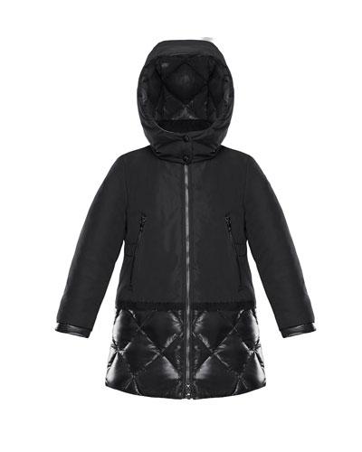 Sibylle Quilted-Hem Hooded Jacket, Size 8-14
