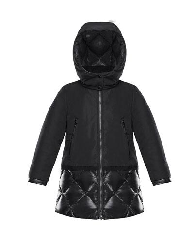 Sibylle Quilted-Hem Hooded Jacket, Size 4-6