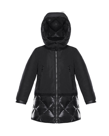 Moncler Sibylle Quilted-Hem Hooded Jacket, Size 4-6