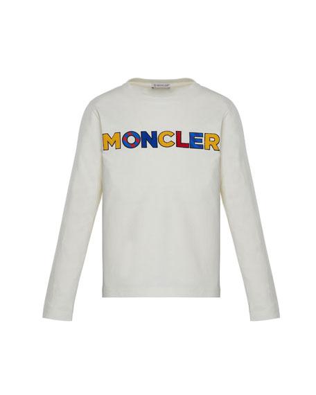 Moncler Long-Sleeve Tee w/ Multicolor Logo, White, Size