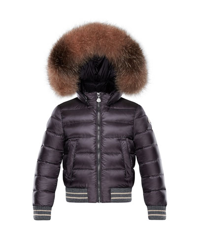 Arabelle Quilted Ribbed-Trim Puffer Jacket w/ Fur Detail, Size 8-14