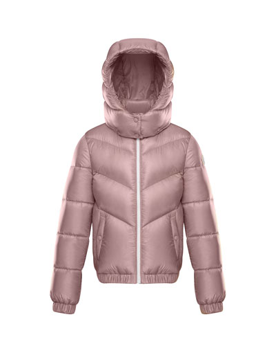 Adelie Puffer Jacket w/ Hood, Light Pink, Size 8-14