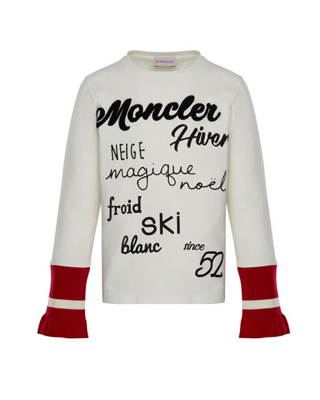 Moncler Long-Sleeve Script T-Shirt w/ Contrast Cuffs, White,