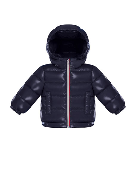 Moncler New Aubert Puffer Jacket w/ Tricolor Zipper,