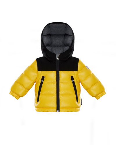 Roubaix Puffer Jacket w/ Contrast Hood, Yellow, Size 12M-3T