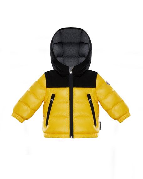 Moncler Roubaix Puffer Jacket w/ Contrast Hood, Yellow,