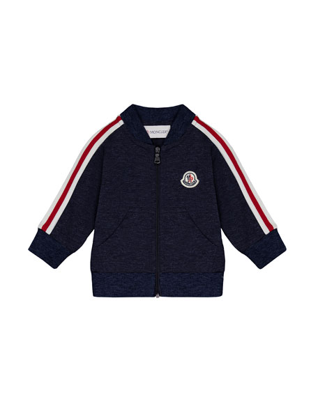 Moncler Stripe-Sleeve Zip-Up Cardigan, Navy, Size 12M-3T