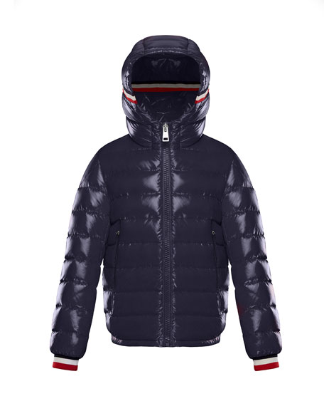 Alberic Puffer Jacket w/ Flag Details, Navy, Size 8-14