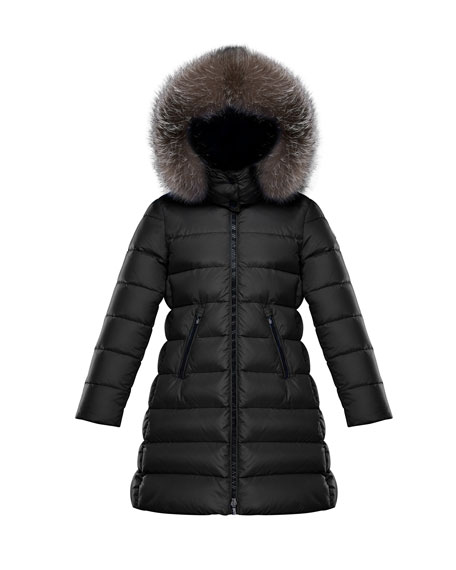 5c8a96a98107 Moncler Abelle Quilted Puffer Coat w  Fur Trim