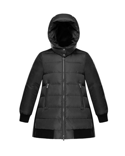 Blois Quilted Coat w/ Contrast Back, Charcoal, Size 4-6