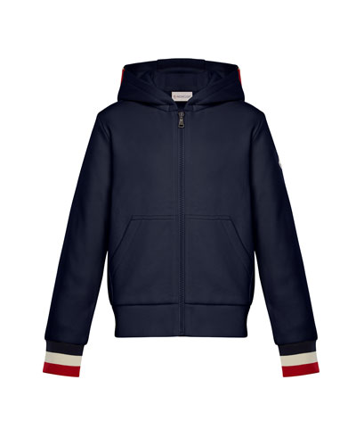 Hooded Zip-Up Cardigan w/ Tricolor Cuffs, Navy, Size 8-14