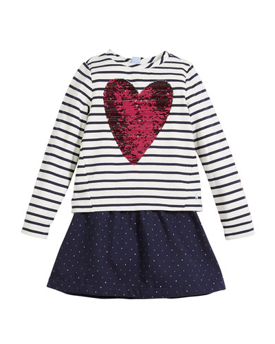 Lucy Sequin-Heart Striped & Polka-Dot Dress, Size 3-10